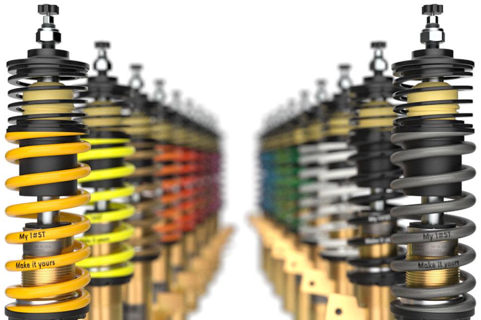 Ab sofort können bei der Bestellung eines ST XTA Gewindefahrwerks optional die Hauptfedern mit einer zusätzlichen individuellen Federkennzeichnung sowie einer von 18 Farben wählen.